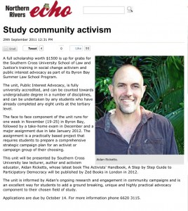 Study community activism at Byron Bay