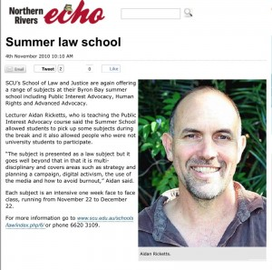 Summer law school 2010 at Byron Bay with Aidan Ricketts