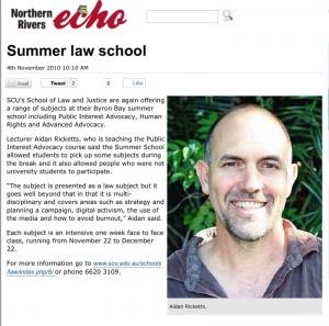 Summer law school 2010 at Byron Bay with Aidan Ricketts