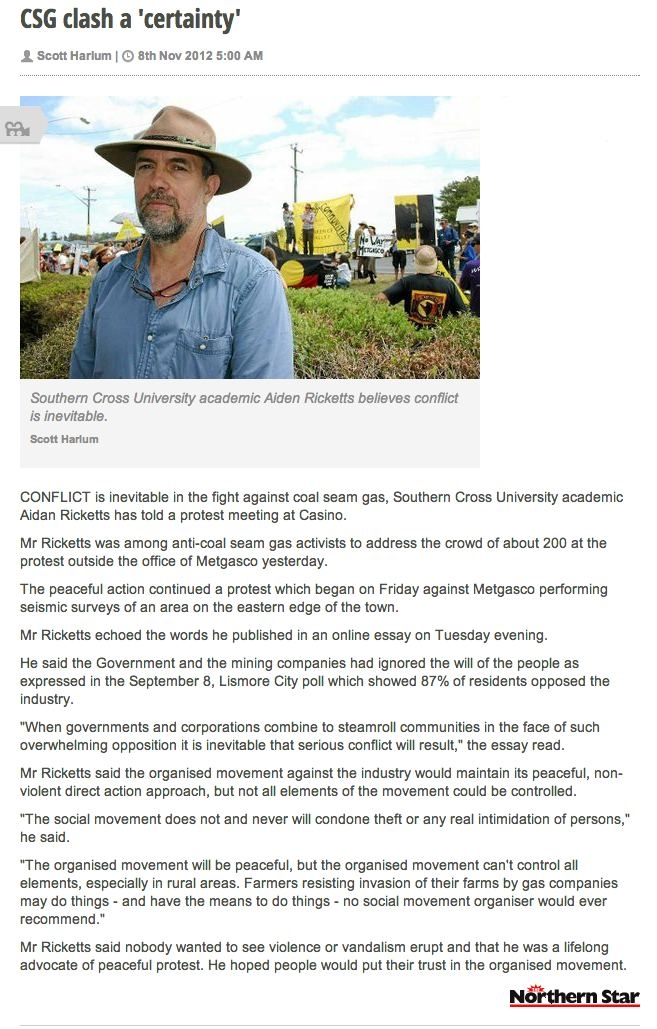 CSG clash a 'certainty' says Aidan Ricketts at Metgasco protest