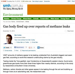 Gas body fired up over reports of methane leaks - SMH