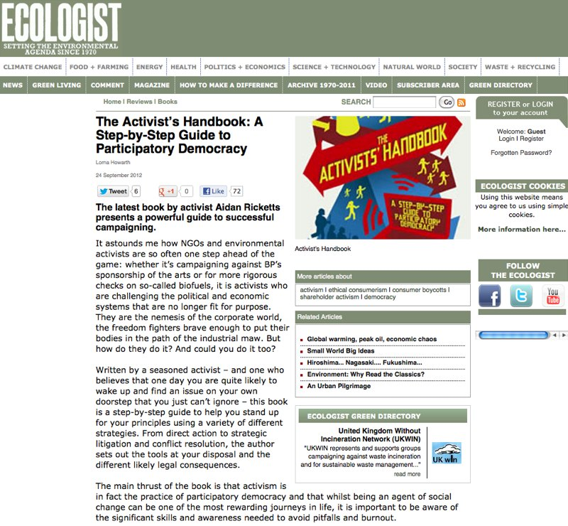 Screen shot of The Ecologist Review