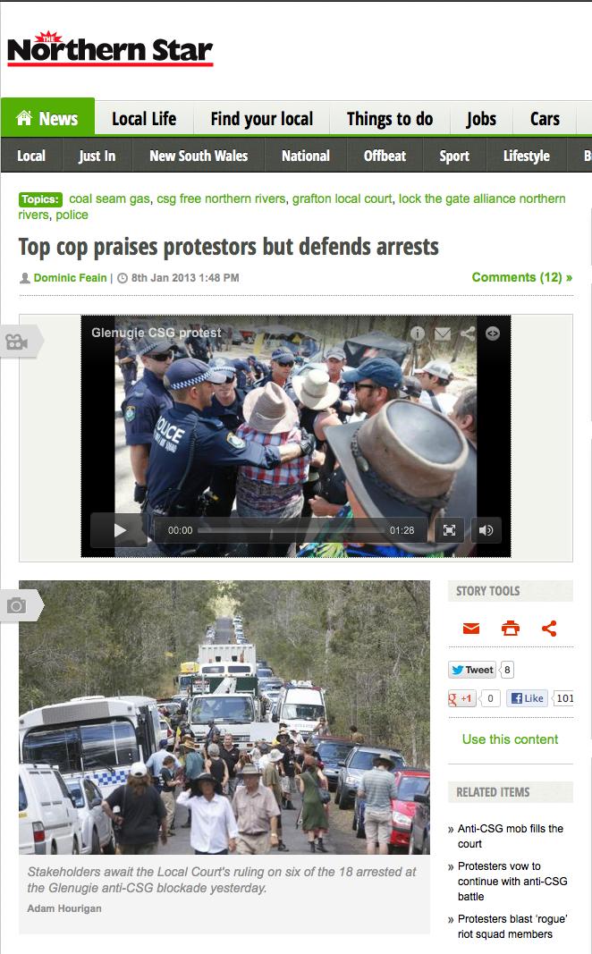Top Cop praises protesters but defends arrest - Northern Star