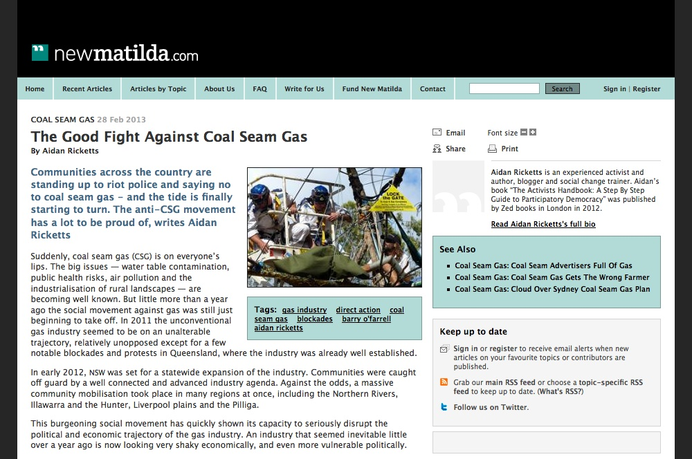 The Good Fight Against Coal Seam Gas