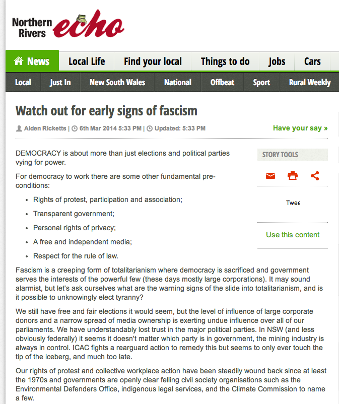 Early Signs Of Fascism >> Watch Out For Early Signs Of Fascism Aidan Ricketts