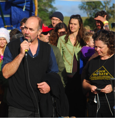 Aidan Ricketts addressing participants at the Bentley blockade.