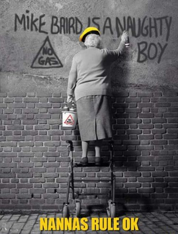 Mke Baird is a naughty boy - grandma graffiti
