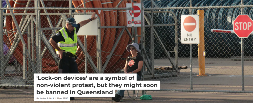 Screen shot from The Conversation article: 'Lock-on devices' are a symbol of non-violent protest, but they might soon be banned in Queensland
